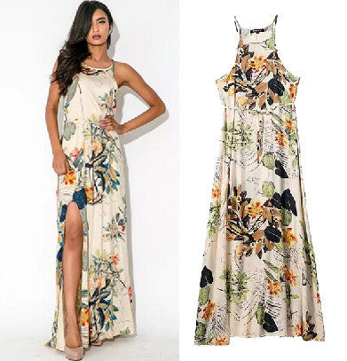 Stylish Cotton Print Maxi Dress Women's Fashion One Piece Dress [5013218244]
