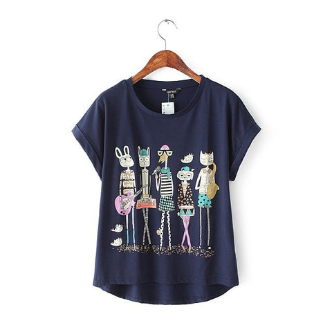 Stylish Round-neck Short Sleeve Cartoons Animal Print Women's Fashion Tops T-shirts [5013381636]