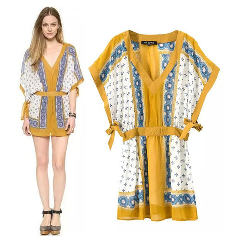 Women's Fashion Vintage Sponge Print Batwing Sleeve Waistband One Piece Dress [5013188676]