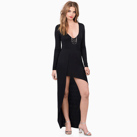 Costume Deep V Stylish Slim Long Sleeve Prom Dress Women's Fashion One Piece Dress [6281576004]