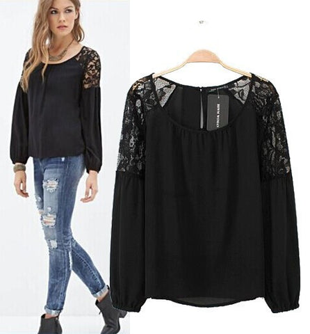 Lace Patchwork Lights Chiffon Tops Long Sleeve Shirt Sleeves [5013311428]