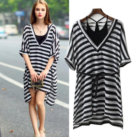 Women's Fashion Spaghetti Strap V-neck Backless Short Sleeve Stripes Bottom & Top Waistband One Piece Dress [5013146756]