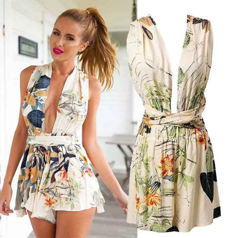 Club Women's Fashion Wrap Backless Shaped Sexy Print Sleeveless Shorts Jumpsuit [5013290116]