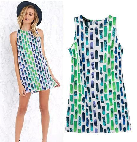 Women's Fashion Stylish Geometric Print Slim Sleeveless One Piece Dress [5013360836]