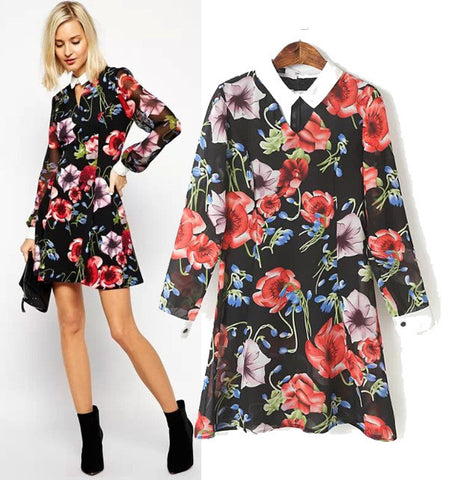 Stylish Patchwork Print See Through Slim Chiffon Women's Fashion Dress One Piece Dress [5013146372]
