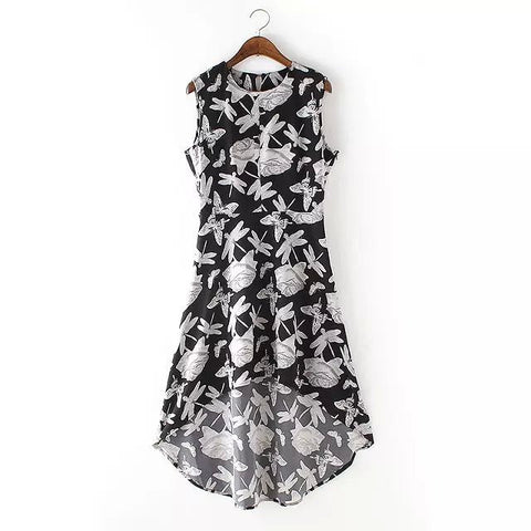 Stylish Baby Elegant Butterfly Print Sleeveless Dress One Piece Dress [5013227844]