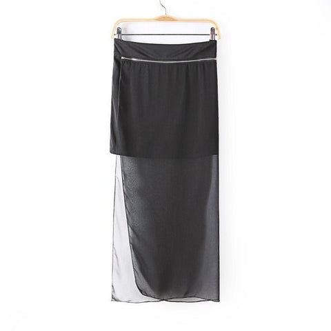 Women's Fashion Summer Stylish Zippers Patchwork See Through Chiffon Dress Split Skirt [5013371012]