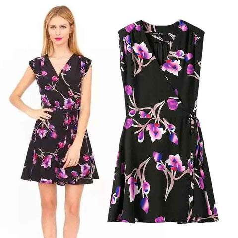Women's Fashion Print V-neck Shaped Sleeveless One Piece Dress [5013243332]