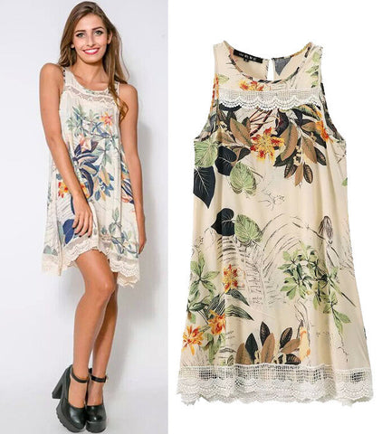 Women's Fashion Stylish Cotton Print Lace Sleeveless One Piece Dress [5013281604]