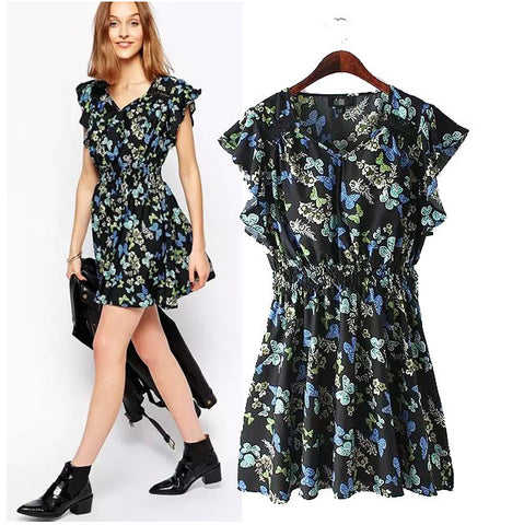Stylish V-neck Short Sleeve Butterfly Print Slim Women's Fashion One Piece Dress [5013242884]