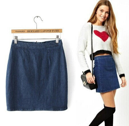 Women's Fashion Bags Slim Zippers Denim Dress Skirt [5013345476]