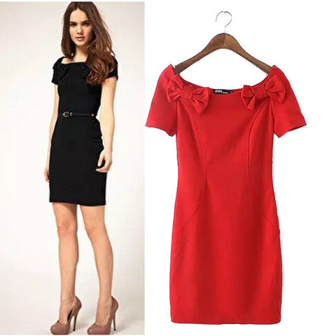 Stylish Short Sleeve Butterfly Slim Women's Fashion One Piece Dress [5013348676]
