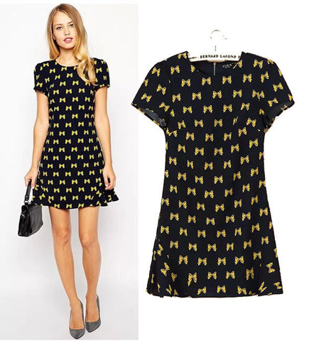 Stylish Round-neck Short Sleeve Chiffon Butterfly Print Slim Women's Fashion Skirt One Piece Dress [5013281156]