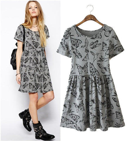 Stylish Round-neck Short Sleeve Butterfly Print Slim Women's Fashion Dress One Piece Dress [5013281668]