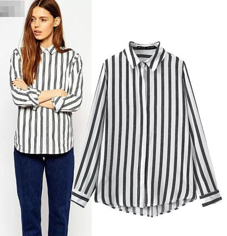 England Style Women's Fashion Patchwork Stripes Cotton Long Sleeve Shirt Slim Bottoming Shirt [5013311812]