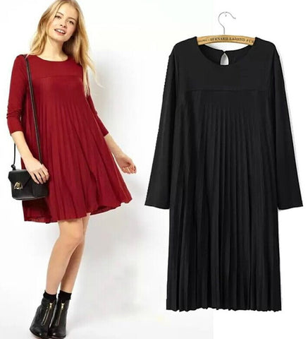Double-layered Thicken Winter Pleated Three-quarter Sleeve Dress Skirt Women's Fashion One Piece Dress [5013175812]