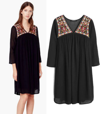 Women's Fashion Vintage Dolls Embroidery Dress One Piece Dress [5013100292]