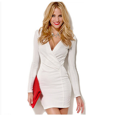 Women's Fashion Long Sleeve V-neck Skirt Autumn Pen Dress One Piece Dress [6281617924]