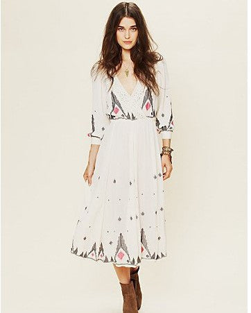 Autumn Lace Embroidery Heavy Work One Piece Dress [4918391684]