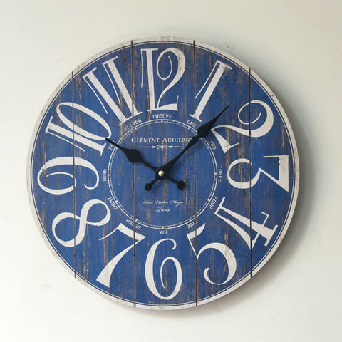 Blue Creative Weathered Wall Sticker Home Decor Clock [4914942404]