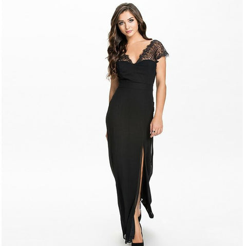 Stylish Deep V Batwing Sleeve Lace Split Prom Dress False Eyelashes One Piece Dress [4981692804]