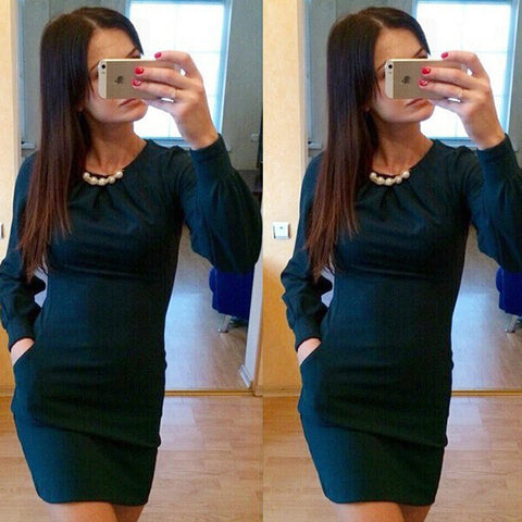 Hot Sale 3-color Pearls Long Sleeve Round-neck One Piece Dress [6281474692]