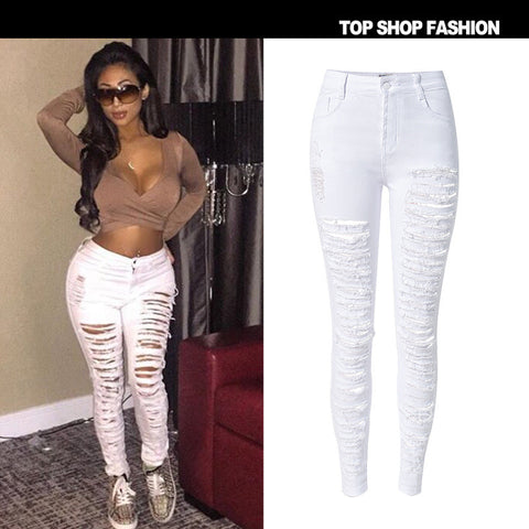 Fashion Strong Character Ripped Holes Slim Stretch High Waist Denim Plus Size Hot Sale Skinny Pants [6365915076]