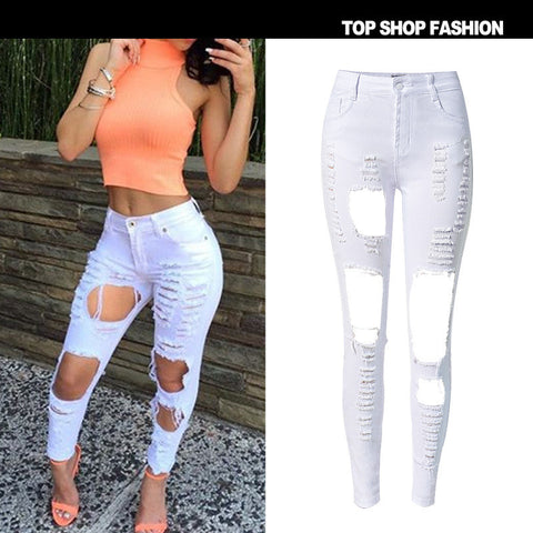 Fashion High Waist Hot Sale Denim Ripped Holes Stretch Strong Character Slim [6365924100]