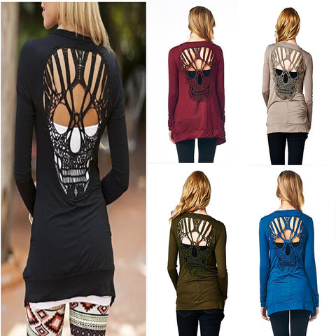 Fashion Women O Neck Long Sleeve Skull Backless Top Blouse Tee Pullover T-Shirt Cardigan [6259201924]