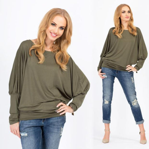 Batwing Sleeve Plus Size Tops Round-neck T-shirts [4966037060]