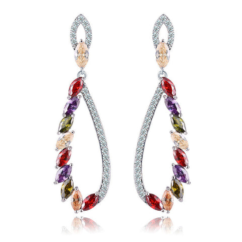 Accessory Stylish Hollow Out Crystal Gemstone Earrings [4918341380]
