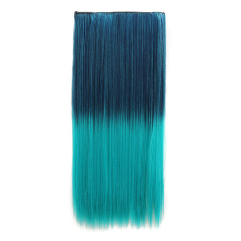 Sexy Beauty On Sale Hot Deal Hot Sale Color Wig Clip Green Gradient Straight Hair Hair Extensions [4915534276]