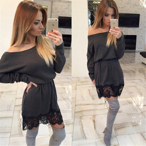 Winter Sexy Batwing Sleeve Lace Patchwork Women's Fashion One Piece Dress [6368735428]