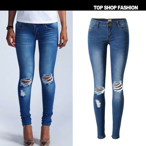 Hot Sale Women's Fashion Stretch Low Waist Denim Plus Size Skinny Pants [6365913348]