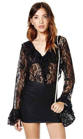 Sexy See Through V-neck Lace Shirt Loudspeaker [4966114372]
