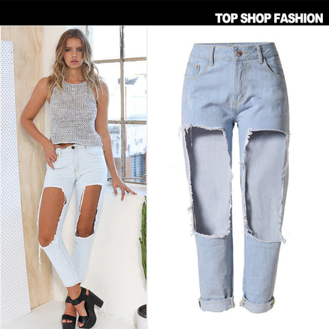 Beach Women's Fashion Ripped Holes Denim Cropped Pants [6365915204]