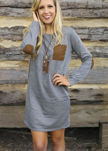 Autumn Long Sleeve Round-neck One Piece Dress [4966044420]