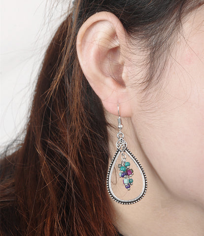 Accessory Stylish Vintage Hollow Out Water Droplets Tassels Earrings [4918474820]