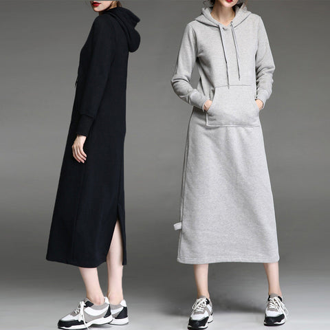 Winter Home Strong Character Long Sleeve Hats Thicken Hoodies Dress One Piece Dress [4918262916]