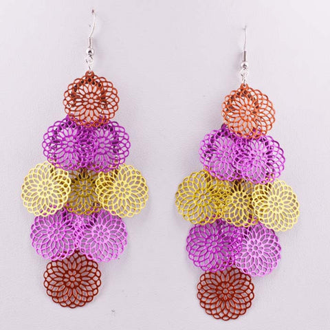 Hollow Out Mixed-color Ladies Earrings [4915644804]