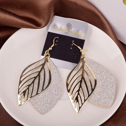 Casual Hollow Out Leaf Ladies Earrings [4915556548]