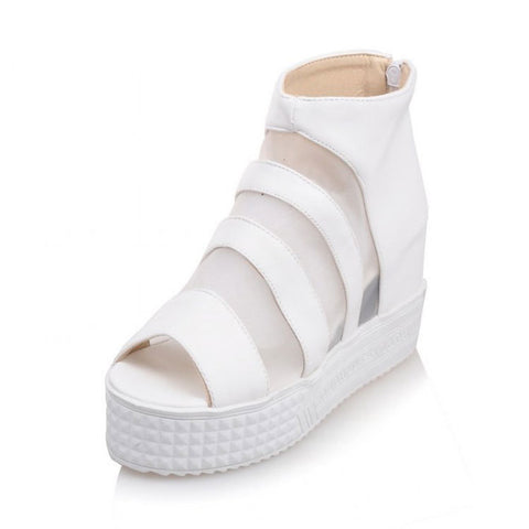 Peep Toe High-top Roman Thick Crust Zippers Stylish Shoes Summer Boots [4914878724]