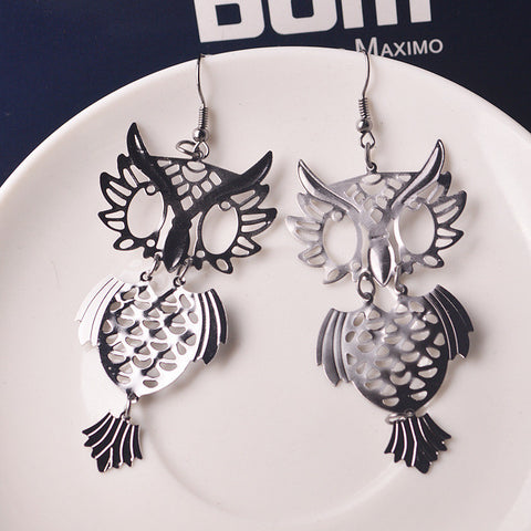 Strong Character Vintage Simple Design Hollow Out Owl Ladies Earrings [4915616708]