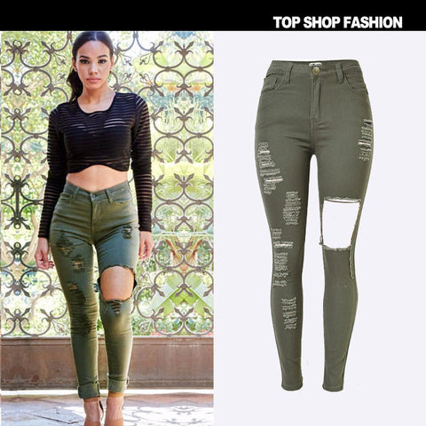 Denim Slim High Waist Ripped Holes Stretch Plus Size Skinny Strong Character Hot Sale [6365914884]