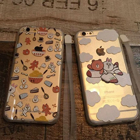 Hot Sale Hot Deal On Sale Cute Iphone 6/6s Stylish Lovely Rabbit Relief Sculpture Transparent Apple Cartoons Phone Case [4915518404]