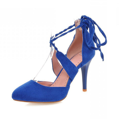 Stylish Design Cross Strap High Heel Suede Plus Size Shoes Summer Sandals [4914878660]