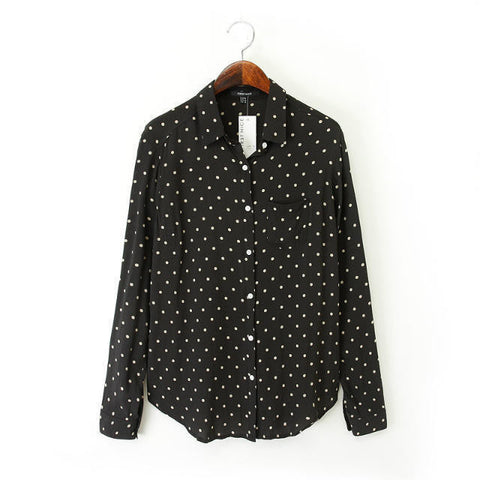 Autumn Women's Fashion Tops Print With Pocket Shirt [5013383108]