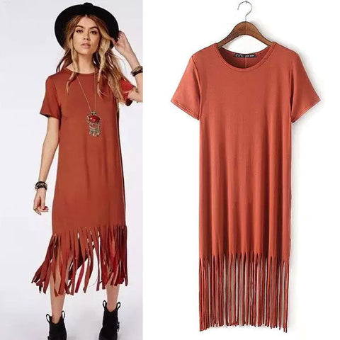 Women's Fashion Tassels Short Sleeve Knit Cotton Stretch One Piece Dress [5013285444]
