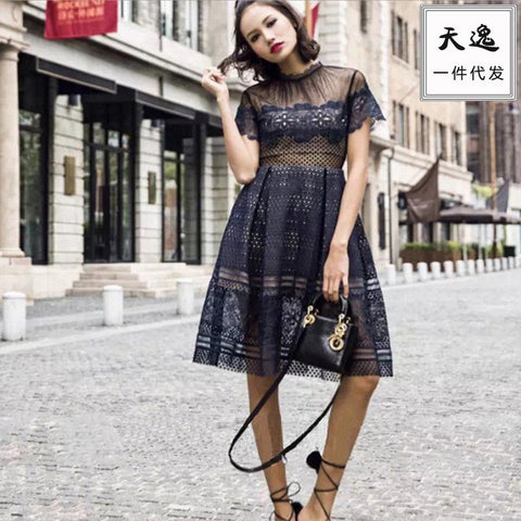 Lace See Through Stylish Slim One Piece Dress [4918833668]