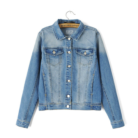 Autumn Women's Fashion With Pocket Denim Jacket [5013108036]